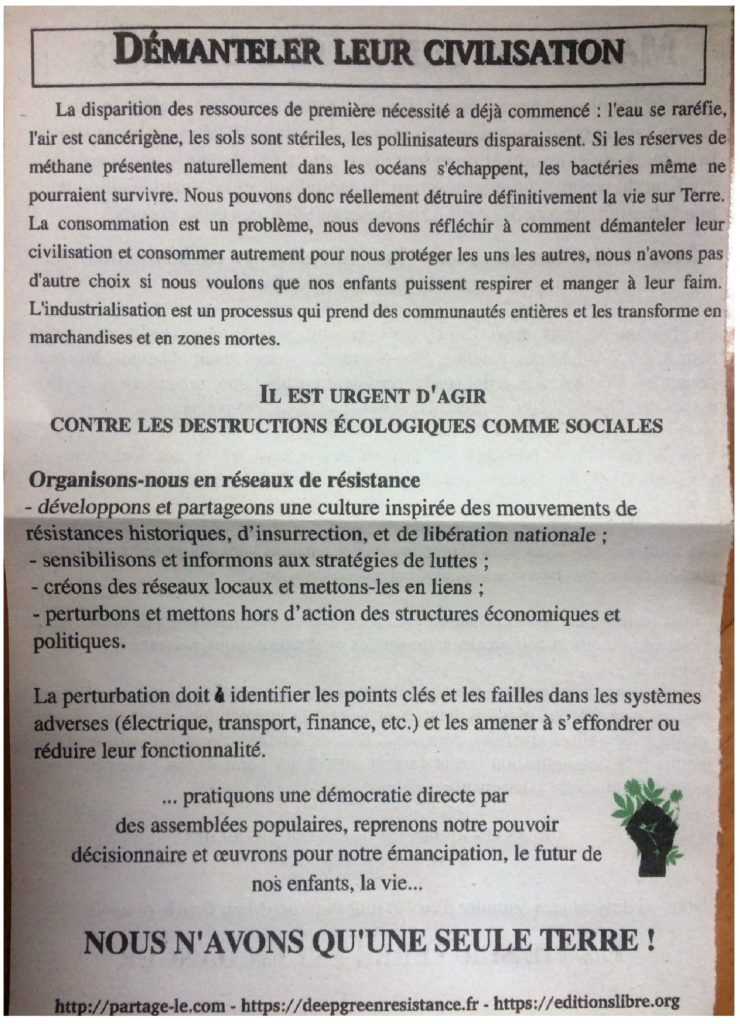 Tract diffusé sur Toulouse